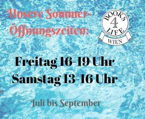 Die Books4Life-Wien-Öffnungszeiten im Sommer lauten: Fr 16-19 h und Sa 13-16 h